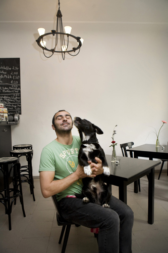 """Im Turkish, gay, deaf and I run my own business"" – Sezer Yigitoglu in his coffee shop 'Café Ole', Berlin Neukölln"
